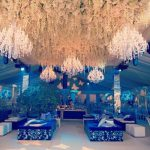 Asian wedding decoration with crystal chandeliers for rental or hire