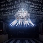 wedding chandelier as centerpiece in marquee for hire